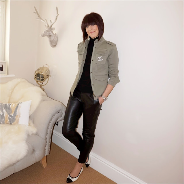 My Midlife Fashion, hush military jacket, marks and spencer pure cashmere polo neck jumper, zara faux leather trousers, j crew two tone pointed ballet flats, chanel vintage brooch