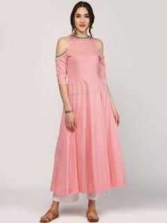 SASSAFRAS Women Pink Solid Anarkali Kurta