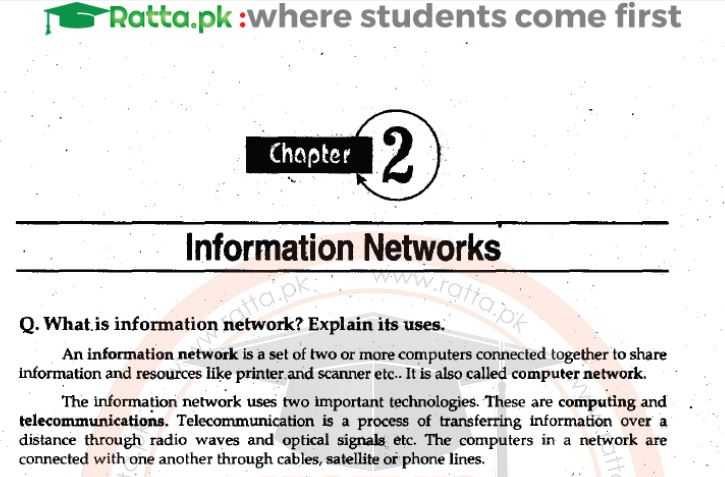 ICS Computer Chapter 2 Notes pdf part 1 - 1st Year/11th Class