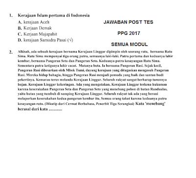 Kunci Jawaban Post Test PPG 2017 Lengkap