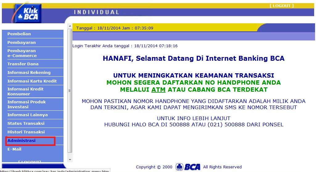 CARA MENGGANTI PIN INTERNET BANKING BCA DI KLIK BCA.COM