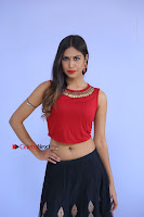 Telugu Actress Nishi Ganda Stills in Red Blouse and Black Skirt at Tik Tak Telugu Movie Audio Launch .COM 0031.JPG