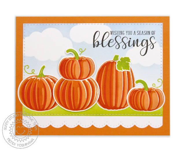 Sunny Studio Stamps: Pretty Pumpkins & Autumn Greetings Blessing Card by Mendi Yoshikawa