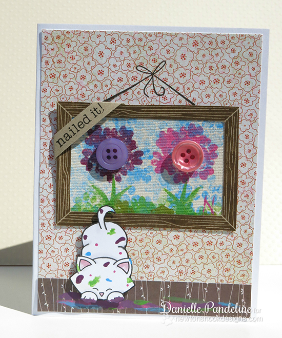 Inky Paws card by Danielle Pandeline using Around the House & Newton's Antics stamp sets |  Newton's Nook Designs