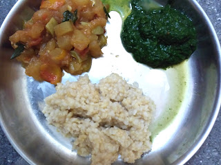 Dinner - Hand pound ponni rice,  Ash gourd curry, Palak masiyal
