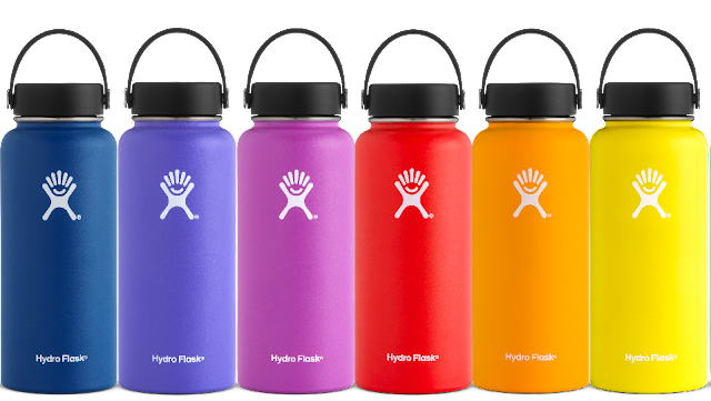 Row of multicoloured Hydroflasks