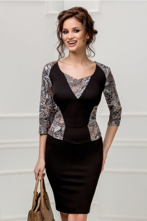 Rochie midi marime mare neagra eleganta cu imprimeuri diverse maro