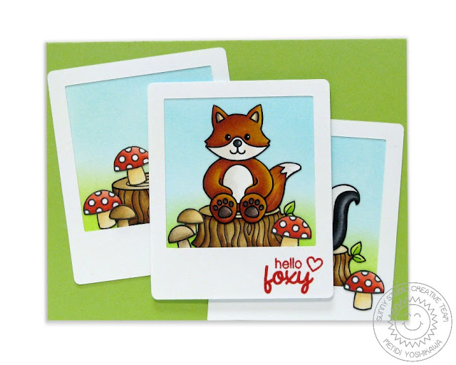 Sunny Studio Stamps: Woodsy Creatures Hello Foxy Fox Card by Mendi Yoshikawa