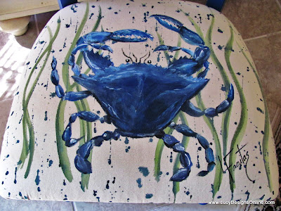 crab painted cushion chair makeover