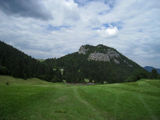 El camino a Vlkolínec llega a la llanura en la que encontrarás una granja