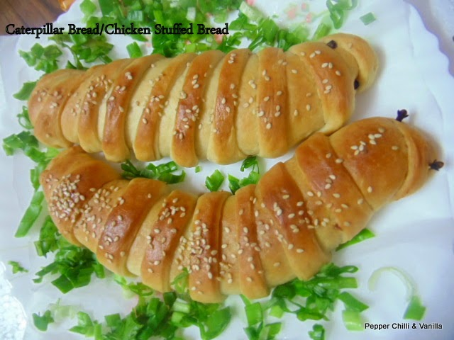 how to make chicken stuffed bread caterpillar shaped