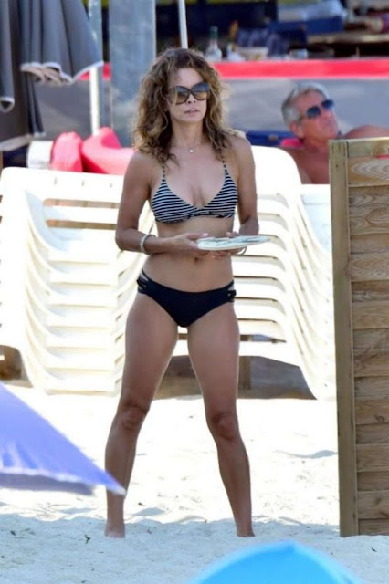Brooke Burke in Bikini on the beach in St Tropez