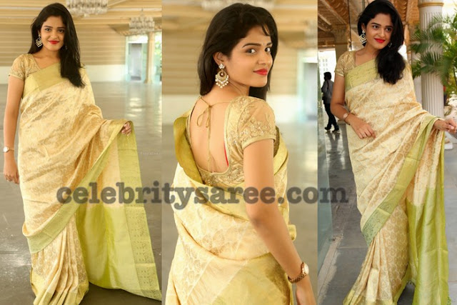 Harshita Off White Silk Saree
