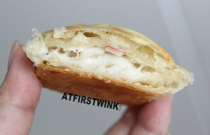 pastry filled with creamy fish filling and surimi
