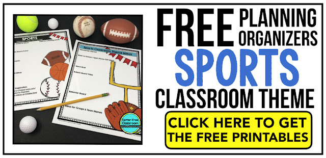 SPORTS Theme Classroom: If you're an elementary teacher who is thinking about a Baseball, Soccer, Teamwork, Team or sports theme then this classroom decor blog post is for you. It'll make decorating for back to school fun and easy. It's full of photos, tips, ideas, and free printables to plan and organize how you will set up your classroom and decorate your bulletin boards for the first day of school and beyond.