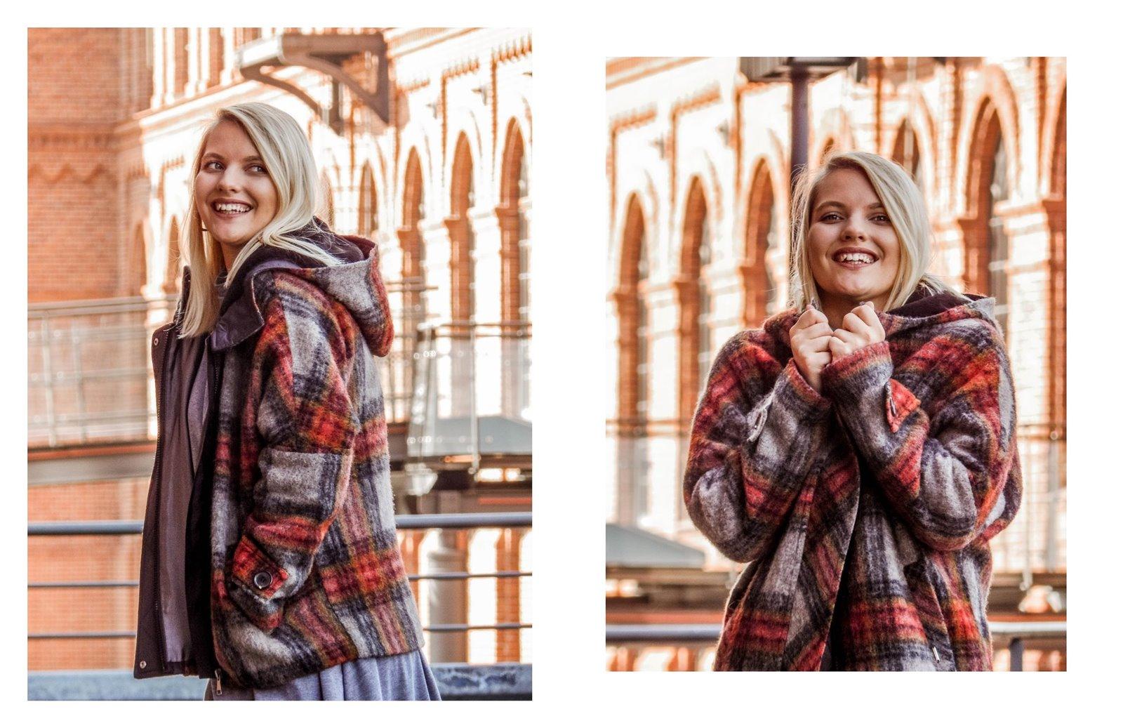 4a płaszcz - ubranie, moda polska, hot moda, moda damska jesień 2018, moda for you, net moda, blog, blogerki fashion łódź anataka kurtka w kratkę ciepła kurtka stylizacje w co się ubrać eleganckie kurtki blondynka