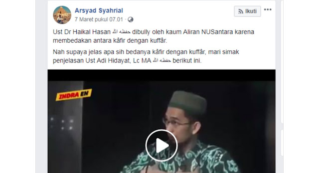 Lucu! Video Adi Hidayat Soal Kuffar, Digunakan Untuk Bela Haikal Hassan yang Tidak Ngerti Nahwu