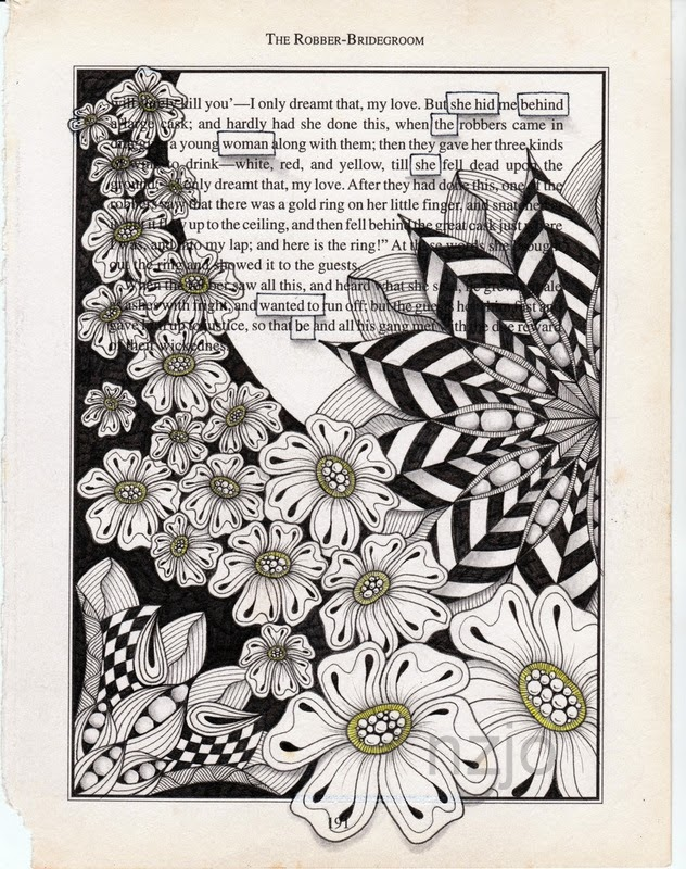 03-The-Woman-Jo-Newsham-Zentangle-Drawings-on-Recycled-Vintage-Book-Pages-www-designstack-co