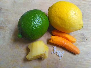 lime, lemon, peeled ginger, turmeric roots