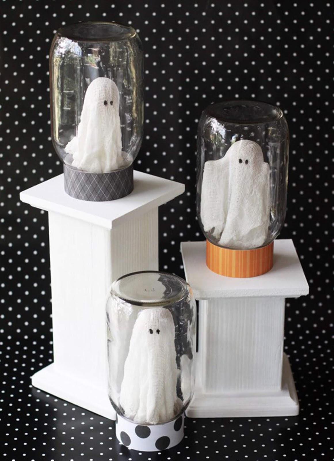 diy para decorar en halloween con fantasmas misteriosos dentro de tarros cazafantasmas fácil y económico