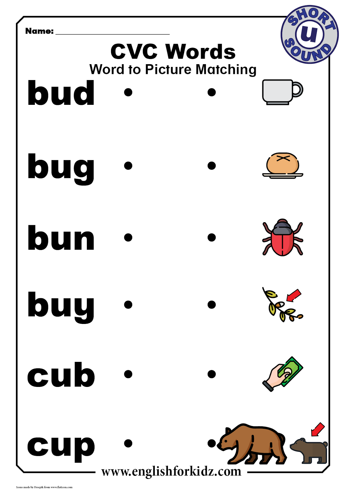 Cvc Words Worksheets Short U Sound