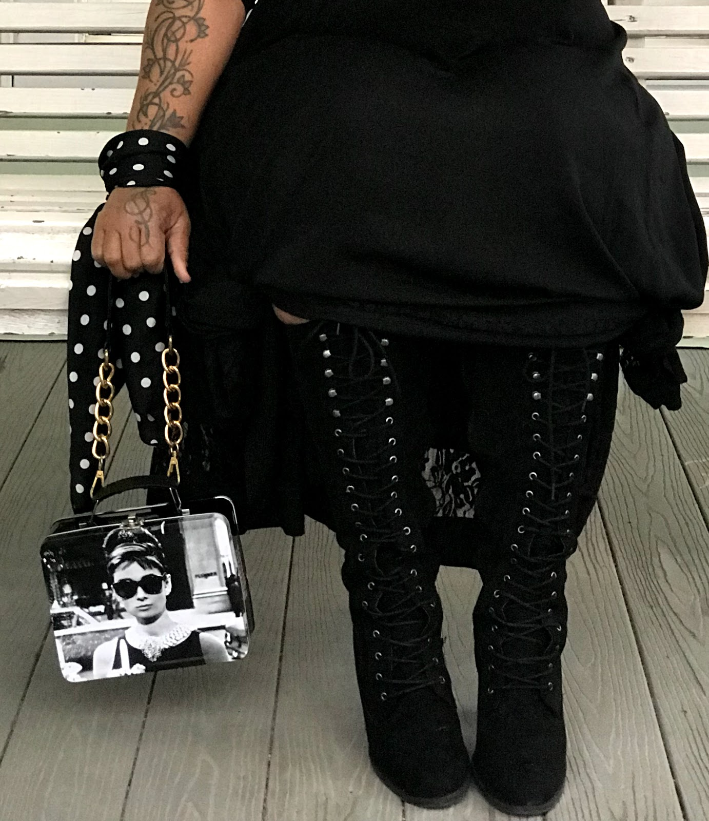 Image: Woman showing how she styles and accessorizes for date night. A mature style