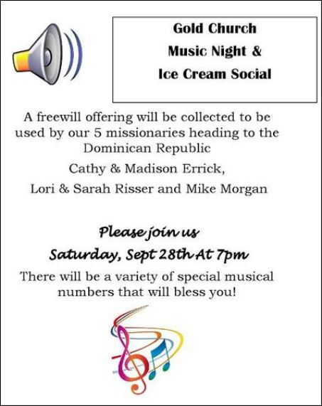 9-28 Music Night & Ice Cream Social, Gold Church