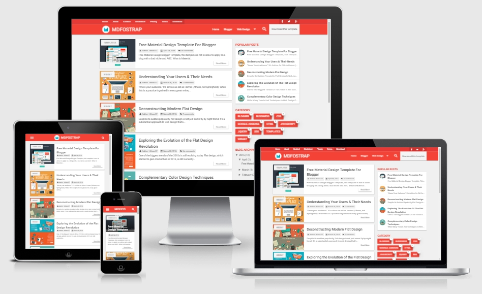 MDFostrap Responsive Free Material Design Blogger Template