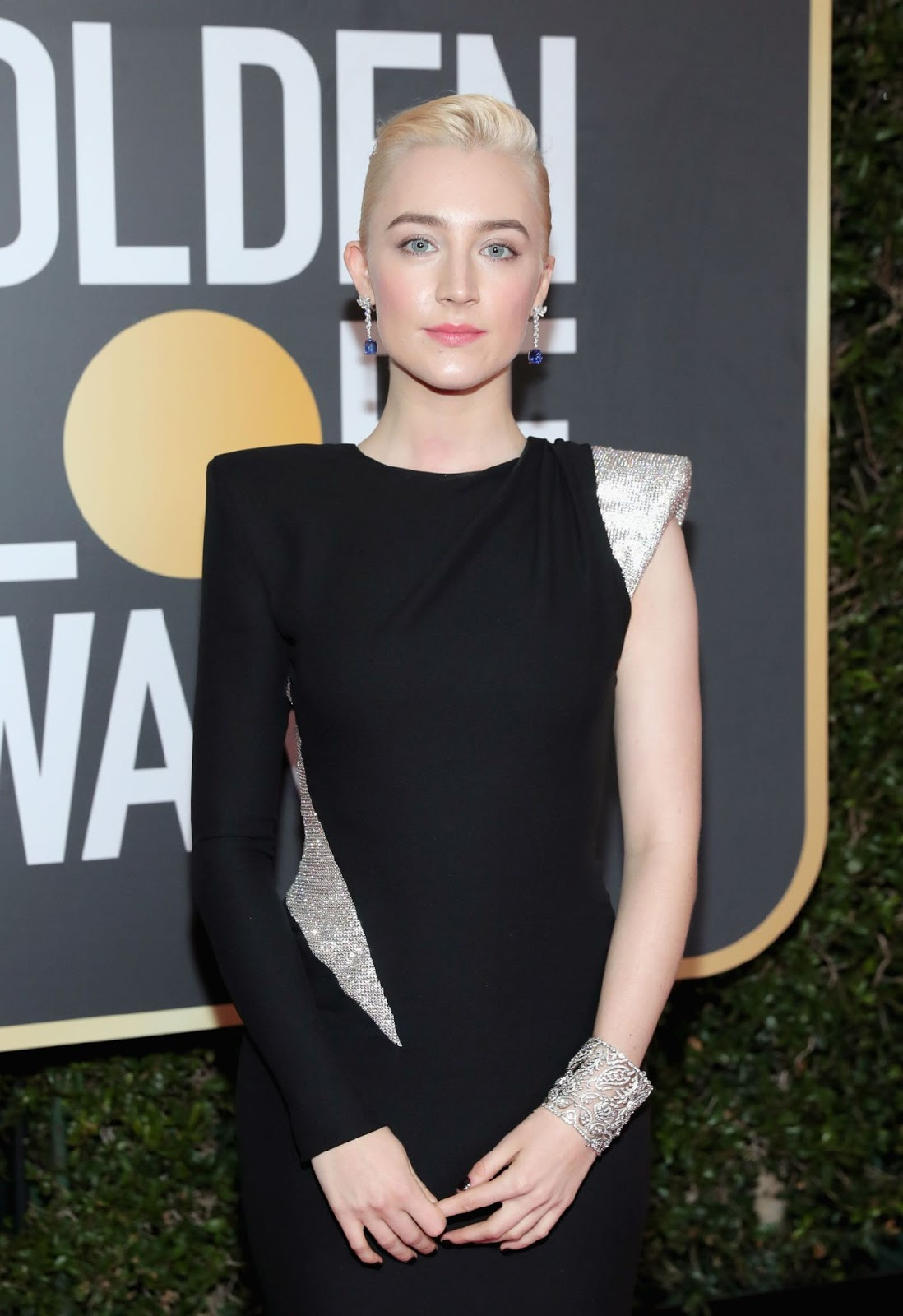 Saoirse Ronan Black Dress on the Red Carpet at Golden Globe Awards
