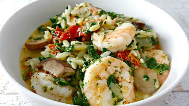Garlic Orzo Tuscan Shrimp Recipe for Two