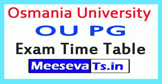 Osmania University OU PG Exam Time Table