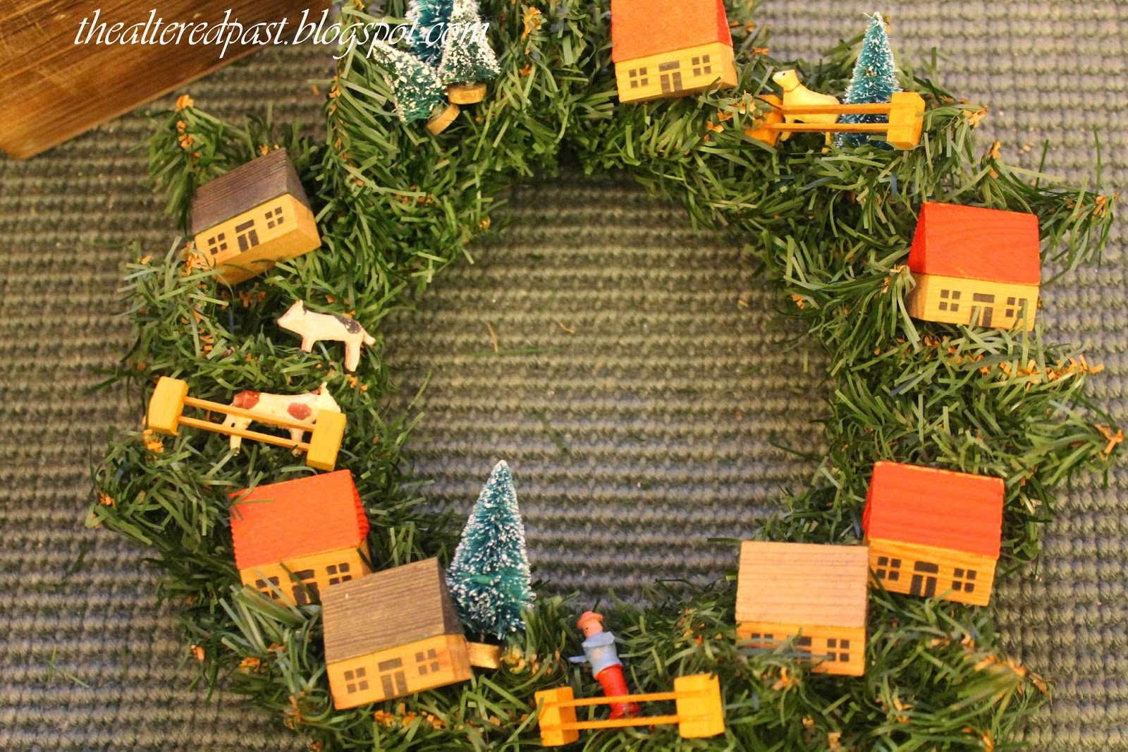 vintage farm village snow wreath, the altered past