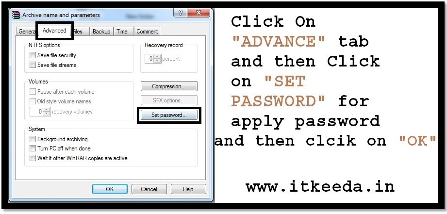How to Password protect the Winrar file 3