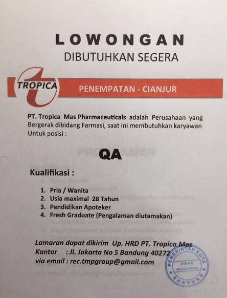 Lowonagan QA PT. Tropica Mas Pharmaceutical