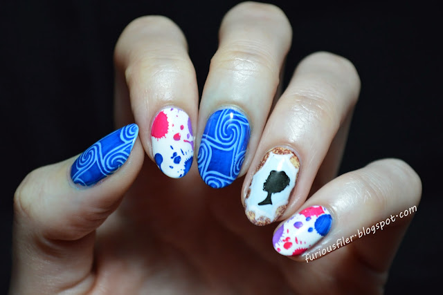 splashes swirls MoYou London nail art