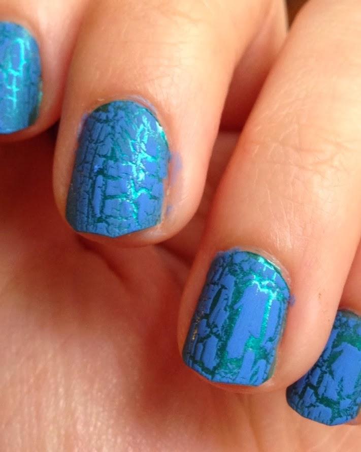 Blue Crackle Nails