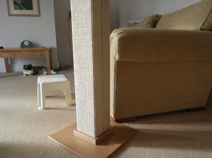 scratch post with vertical thread