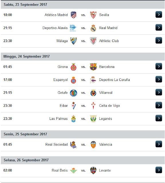 Jadwal Liga Spanyol Musim 2017/2018 Minggu Ke 6