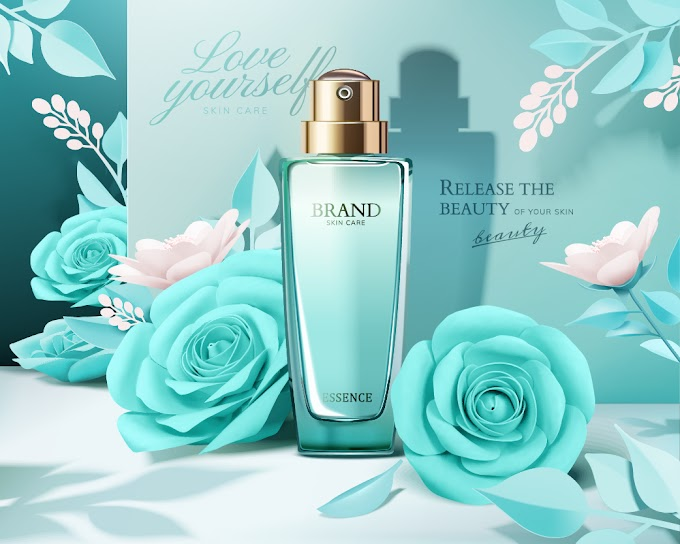 Flowers and cosmetic set ads template free vector