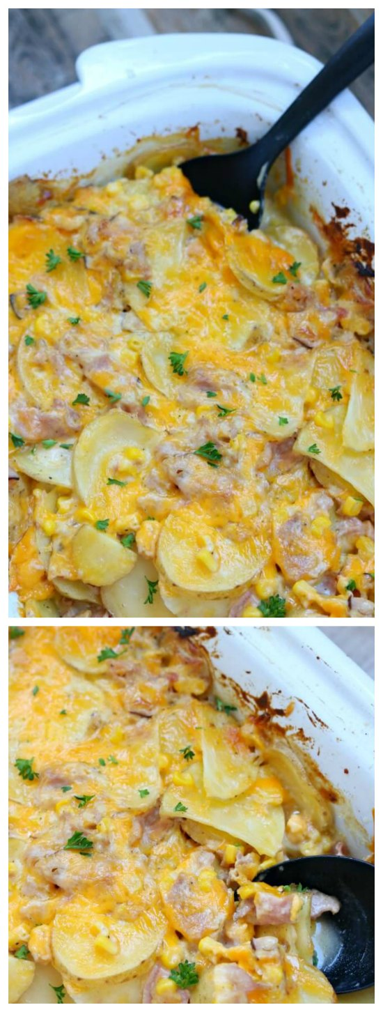 Slow Cooker Cheesy Scalloped Potato Casserole from 365 Days of Slow Cooking featured for Casserole Crock Saturdays on SlowCookerFromScratch.com