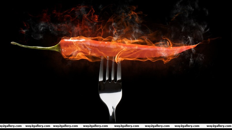 Hot pepper in fire wallpaper