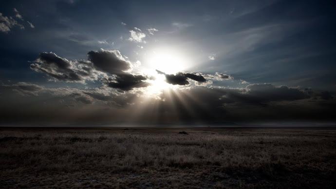 Wallpaper: Sun, clouds and landscape in Serengeti