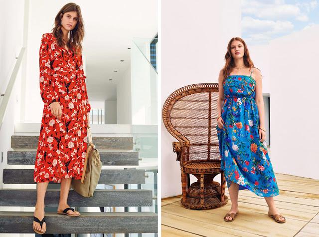 Девушки в красном и синем платьях с цветочным принтом средней плотности