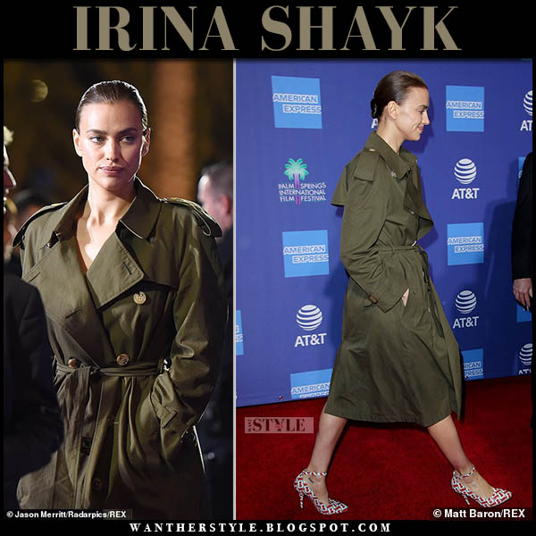 Irina Shayk in khaki green trench coat burberry westminster palm springs film festival 2019 fashion