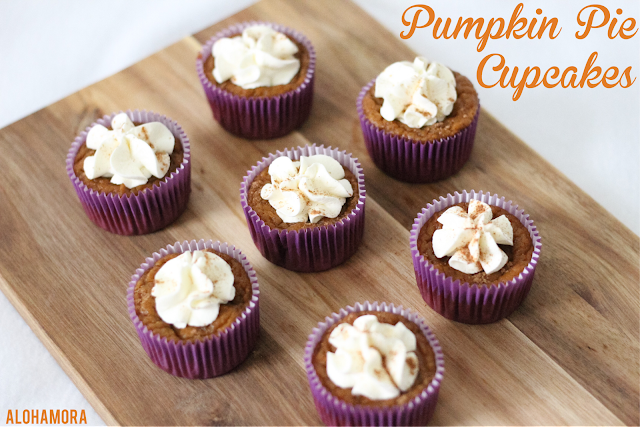 Pumpkin Pie Cupcakes easy to make Fall or Thanksgiving dessert that everyone loves.  Easily gluten free.  Delicious treat that is a perfect marriage/combination of pumpkin pie and cupcakes.  Yummy!  Alohamora Open a Book http://alohamoraopenabook.blogspot.com/