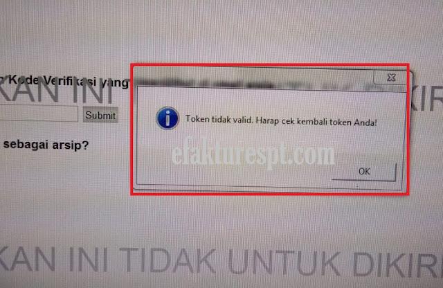 e-Form Error Token Tidak Valid, Harap Cek Kembali Token Anda