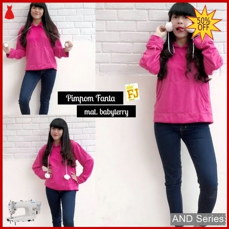AND433 Sweater Wanita Pimpon Pink Fanta BMGShop