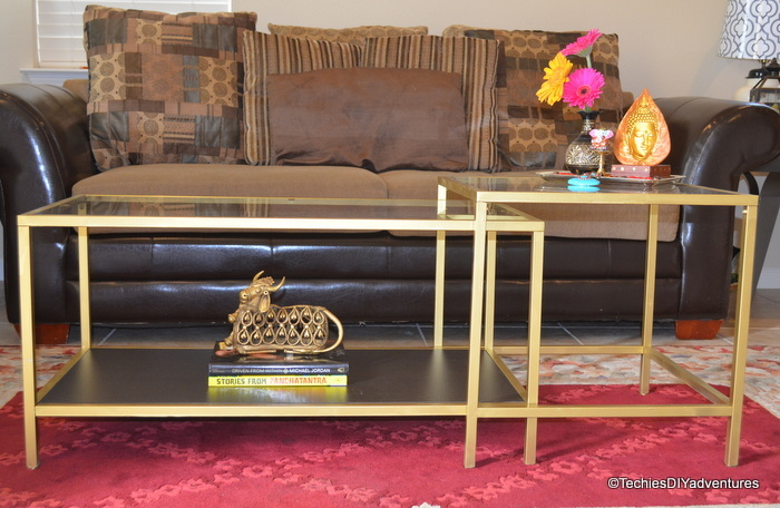 Gold spray painted ikea vittasjo coffee table