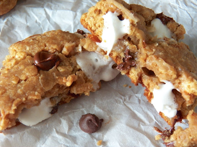 S'MORES STUFFED COOKIES WITH COCONUT