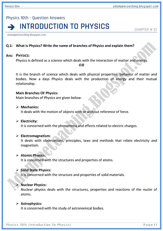Adamjee Coaching: Introduction to Physics - Question Answers